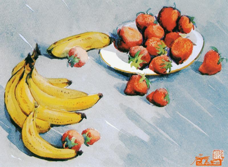 水彩画香蕉步骤图片