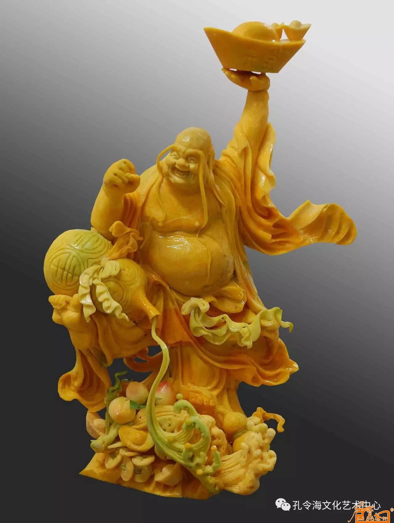 名家 孔令海 国画 - 食品雕刻人物作品:《弥勒献宝》 原料:南瓜